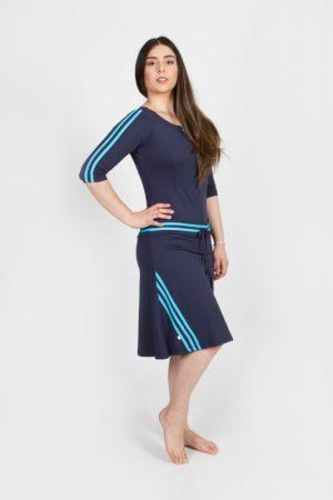 בגד ים לשחייה נשים | בגד ים אוברול וחצאית- כחול כהה