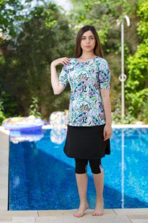 סטים צנועים - סט חולצה וחצאית קשמיר